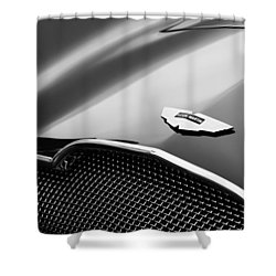 1953 Aston Martin Db2-4 Bertone Roadster Hood Emblem Shower Curtain by Jill Reger