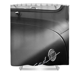 1953 Ford F-100 Pickup Truck Steering Wheel And Emblem Shower Curtain by Jill Reger