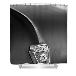 1953 Ford F100 Pickup Truck Hood Emblem Shower Curtain by Jill Reger