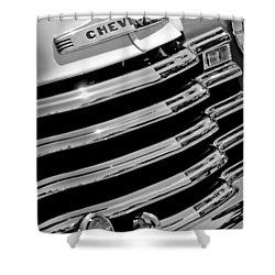 1956 Chevrolet 3100 Pickup Truck Grille Emblem Shower Curtain by Jill Reger