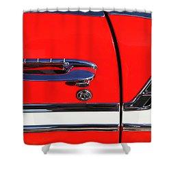 1956 Chevrolet Belair Convertible Custom V8 Door Handle Shower Curtain by Jill Reger