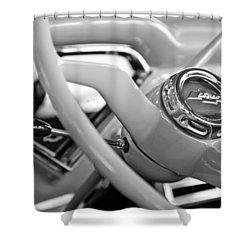 1957 Chevrolet Cameo Pickup Truck Steering Wheel Emblem Shower Curtain by Jill Reger