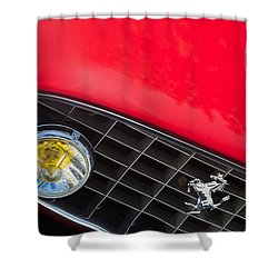 1957 Ferrari 410 Superamerica Series II Grille Emblem Shower Curtain by Jill Reger
