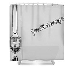 1959 Volkswagen Vw Beetle Convertible Emblem Shower Curtain by Jill Reger