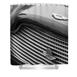 1960 Aston Martin Db4 Gt Coupe' Grille Emblem Shower Curtain by Jill Reger