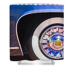 Shower Curtain featuring the photograph 1962 Ghia L6.5 Coupe Wheel Emblem by Jill Reger