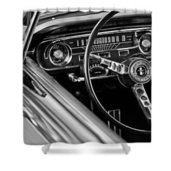 1965 Shelby Prototype Ford Mustang Steering Wheel Shower Curtain by Jill Reger