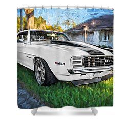 1969 Chevy Camaro Rs Painted  Shower Curtain