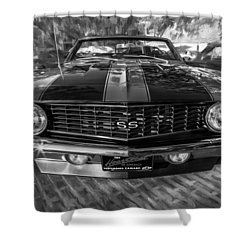 1969 Chevy Camaro Ss Painted Bw Shower Curtain