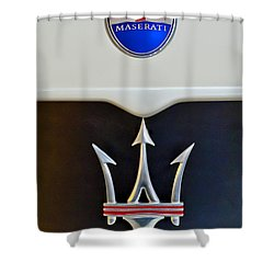 2005 Maserati Mc12 Hood Emblem Shower Curtain by Jill Reger