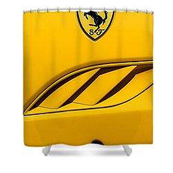 Shower Curtain featuring the photograph 2010 Ferrari California Side Emblem by Jill Reger