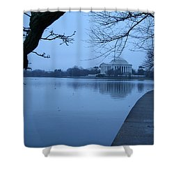 Shower Curtain featuring the photograph A Blue Morning For Jefferson by Cora Wandel