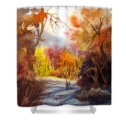 A Walk In The Fall Shower Curtain by Mohamed Hirji
