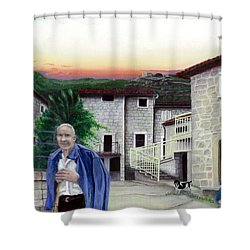 Shower Curtain featuring the painting A Walk With Dante by Albert Puskaric