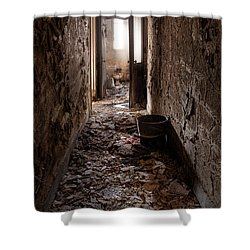 Abandoned Building - Hallway To Ladies Room Shower Curtain by Gary Heller