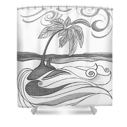 Abstract Art Tropical Black And White Drawing Who Am I To Disagree By Romi Shower Curtain by Megan Duncanson