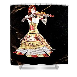 Steampunk Girl Abstract Painting Girl With Violin Fashion Collage Painting Shower Curtain