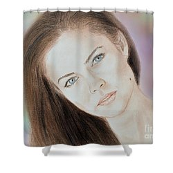 Actress And Model Susan Ward Blue Eyed Beauty With A Mole Shower Curtain by Jim Fitzpatrick