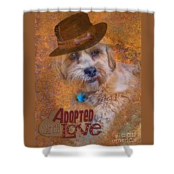 Shower Curtain featuring the digital art Adopted With Love by Kathy Tarochione