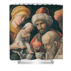 Adoration Of The Magi Shower Curtain by Andrea Mantegna