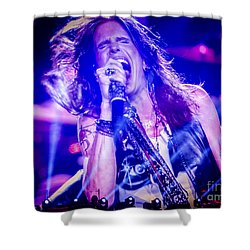 Aerosmith Steven Tyler Singing In Concert Shower Curtain by Jani Bryson
