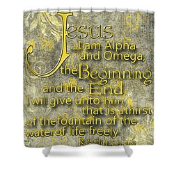 Alpha And Omega Shower Curtain by Larry Bishop