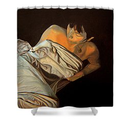 Shower Curtain featuring the painting 1 Am by Thu Nguyen