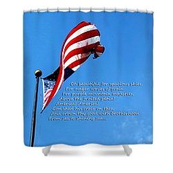 America The Beautiful - Us Flag By Sharon Cummings Song Lyrics Shower Curtain by Sharon Cummings