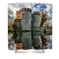 Ancient Whittington Castle In Shropshire England Shower Curtain