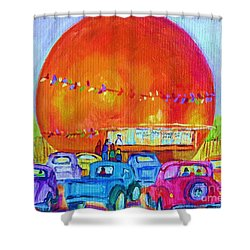 Shower Curtain featuring the painting Antique Cars At The Julep by Carole Spandau