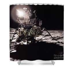 Apollo 17 Moon Landing Shower Curtain by Science Source