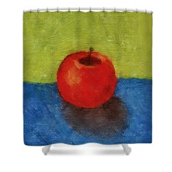 Apple With Green And Blue Shower Curtain