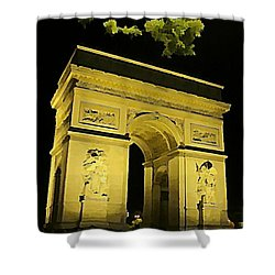 Arc De Triomphe At Night Shower Curtain by John Malone