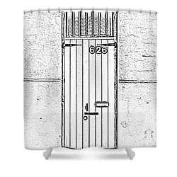 Arched Doorway French Quarter New Orleans Photocopy Digital Art Shower Curtain by Shawn O'Brien