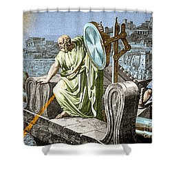 Archimedes Heat Ray Siege Of Syracuse Shower Curtain by Science Source