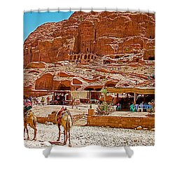 Area In Front Of Tombs Of The Kings In Petra-jordan Shower Curtain by Ruth Hager