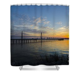 Sunset Over The Charleston Waters Shower Curtain by Dale Powell