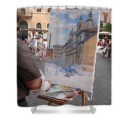Artist At Work Rome Shower Curtain by Ylli Haruni