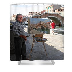 Artist At Work Venice Shower Curtain by Ylli Haruni