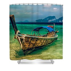 Asian Longboat Shower Curtain by Adrian Evans