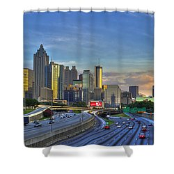Atlanta Sunset Reflections Shower Curtain by Reid Callaway