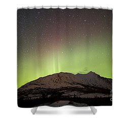 Aurora Borealis And Milky Way Shower Curtain by Joseph Bradley