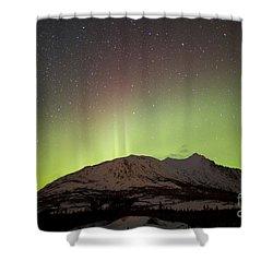 Aurora Borealis And Milky Way Shower Curtain by Joseph Bradley
