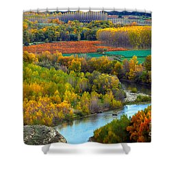 Autumn Colors On The Ebro River Shower Curtain by RicardMN Photography