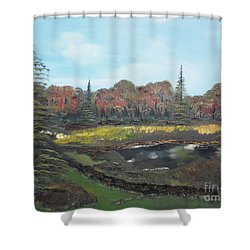 Shower Curtain featuring the painting Autumn Landscape by Jan Dappen