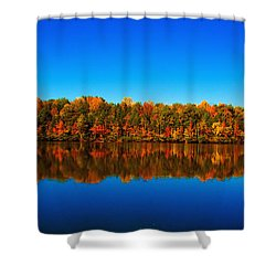 Shower Curtain featuring the photograph Autumn Reflections by Andy Lawless