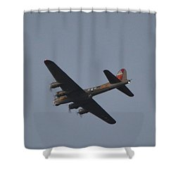 Shower Curtain featuring the photograph B-17 Flying Fortress Wwii Bomber Over Santa Rosa Sound At Twilight by Jeff at JSJ Photography
