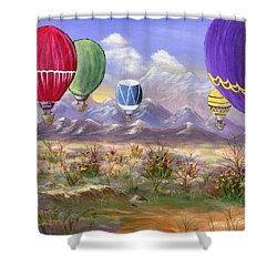 Shower Curtain featuring the painting Balloons by Jamie Frier