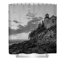 Bass Harbor Head Light Sunset  Shower Curtain by Michael Ver Sprill