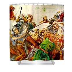 Shower Curtain featuring the painting Battle Of Grunwald by Henryk Gorecki